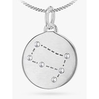 shop for IBB Personalised Gemini Star Sign Disc Pendant Necklace, Silver at Shopo