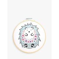 Hawthorn Handmade Hedgehog Embroidery Hoop, 7, White/Multi