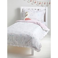 little home at John Lewis Ballerina and Swans Reversible Duvet Cover and Pillowcase Set, Single, White/Pink