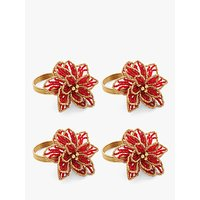 John Lewis and Partners Poinsettia Napkin Rings, Set of 4, Red/Gold