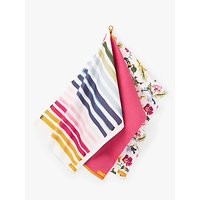 Joules Floral & Striped Cotton Tea Towels, Set of 3, Pink/Multi