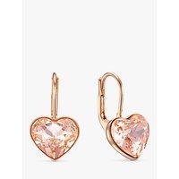 shop for Swarovski Heart Crystal Drop Earrings, Rose Gold at Shopo