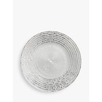 John Lewis and Partners Round Textured Glass Serving Platter, 26cm, Silver