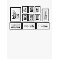 John Lewis & Partners Gallery Set Multi-aperture Photo Frames & London Prints, 11 Photo, Black