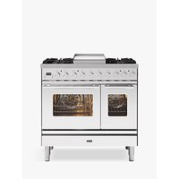 ILVE Roma PD09FWE3/SS Double Oven Dual Fuel Range Cooker, A+ Energy Rating, Stainless Steel