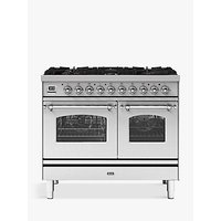 ILVE Milano PD106FNE3/SSC Double Oven Dual Fuel Range Cooker, A+ Energy Rating, 100cm, Stainless Steel