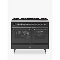 ILVE Milano PD106FNE3/MGC Double Oven Dual Fuel Range Cooker, A+ Energy Rating, 100cm, Matt Graphite