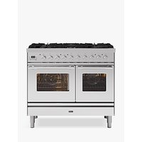 ILVE Roma PD106WE3/SS Double Oven Dual Fuel Range Cooker, A+ Energy Rating, Stainless Steel