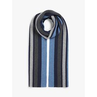 John Lewis and Partners Stripe Cashmere Scarf, Blue/Grey