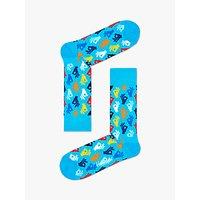 Happy Socks Sign Pattern Socks, One Size, Bright Blue/Multi.