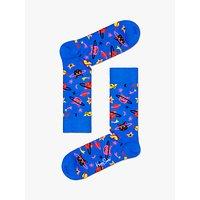 Happy Socks Space Cat Socks, One Size, Blue/Multi.