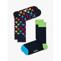 Happy Socks Thumbs Up Socks, One Size, Pack of 2, Black/Multi.