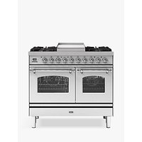 ILVE Milano PD10FNE3/SSC Double Oven Dual Fuel Range Cooker, A+ Energy Rating, 100cm, Stainless Steel