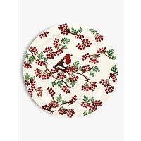 Emma Bridgewater Hawthorn Berries and Robin Round Serving Platter, 33.5cm, Red/Multi