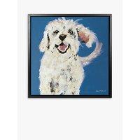 Samantha Barnes - Bichon Frise Dog Framed Canvas Print, 54 x 54cm, Blue