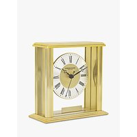 image-London Clock Company Glass Front Roman Numerals Analogue Mantel Clock with Engraving Plaque, Gold