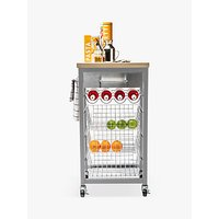 Hahn Sandon Kitchen Butchers Trolley with Wood-Effect Top