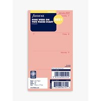 Filofax Personal Week-To-View Personal Organiser Insert, 2020-21, Pink