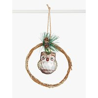 John Lewis & Partners Bloomsbury Owl in Wreath Tree Decoration, Brown