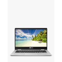 ASUS C423 Chromebook Laptop, Intel Celeron Processor, 4GB RAM, 64GB eMMC, 14 HD, Silver