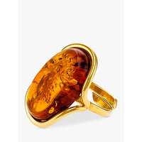 shop for Be-Jewelled Oval Baltic Amber Adjustable Ring, Gold/Cognac at Shopo