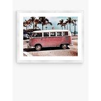 VW Camper Van - Framed Print & Mount, 66 x 86cm, Pink