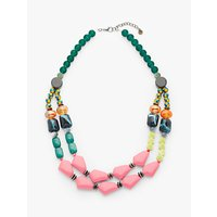 shop for One Button Double Row Beaded Statement Necklace, Jade/Multi at Shopo