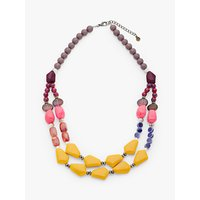 shop for One Button Double Row Beaded Statement Necklace, Mustard/Multi at Shopo