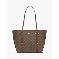 shop for DKNY Bo Logo Zip Top Tote Bag, Bark/Caramel at Shopo