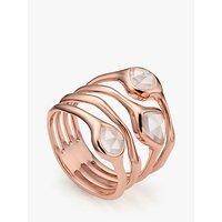shop for Monica Vinader Siren Cluster Quartz Cocktail Ring, Rose Gold/Pink at Shopo