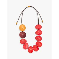 shop for One Button Faceted Wooden Bead Statement Cord Necklace at Shopo