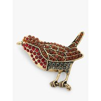 shop for One Button Glass Stone Robin Brooch, Gold/Multi at Shopo