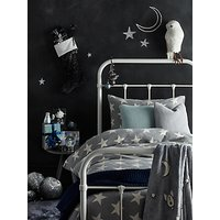 little home at John Lewis Star Knitted Duvet Cover and Pillowcase Set, Single, Grey