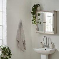 John Lewis Croft Collection Blakeney Double Mirrored Bathroom Cabinet, Putty