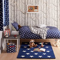 little home at John Lewis Star Reversible Duvet Cover and Pillowcase Set, Single, Blue