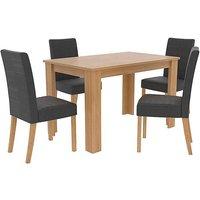 Atlanta Oak Effect Wood Dining Table & 4 x Anna Twill Fabric Dining Chairs.