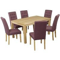 Linden Oak Stain Ash Veneer Dining Table & 6 x Roma Linen Style Dining Chairs.