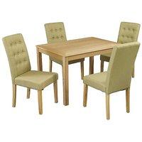 Oakridge Oak Stain Ash Veneered Dining Table & 4 x Roma Fabric Dining Chairs.