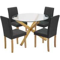Oporto Glass Dining Table & 4 x Anna Twill Fabric Dining Chairs.