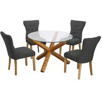 Oporto Glass Dining Table & 4 x Naples Linen Effect Dining Chairs.