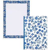Paperchase Hana A5 Floral Fabric Notebook & Navy Leaf Desk Pad.