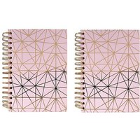 Paperchase Pack of 2 A5 Pink Geo Lined Notebooks.