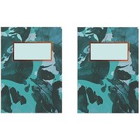 Paperchase Pack of 2 A6 Open Spine Green Marble Notebooks.