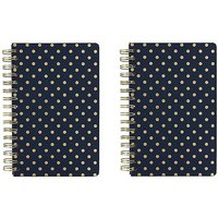 Paperchase Pack of 2 Navy Spot Lined A5 Notebooks.