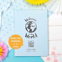 Personalised Book About You: Welcome to the World Hardback Book - Blue.