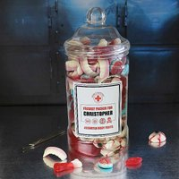Personalised Jar of Edible Anatomy Sweets.