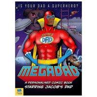 Personalised Mega Dad Comic Book Dark Skin Hardback Book.