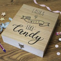 Personalised Wooden Retro Sweet Box 'Sweet Like Candy'.