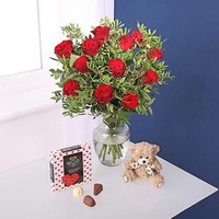 Red Roses Fresh Flower Bouquet, Teddy Bear & 90g 'I Love You' Chocolates.