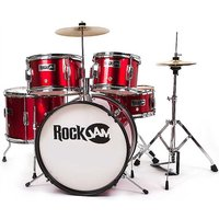 RockJam 5 Piece Junior Drum Set - Metallic Red.